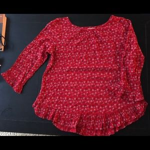 NWT Gap red floral blouse